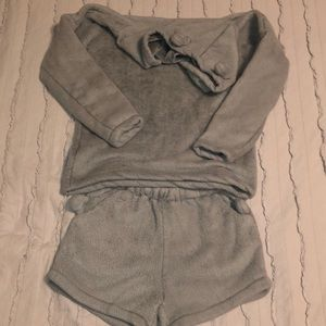 Cat Fleece shorts and hoodie set size M